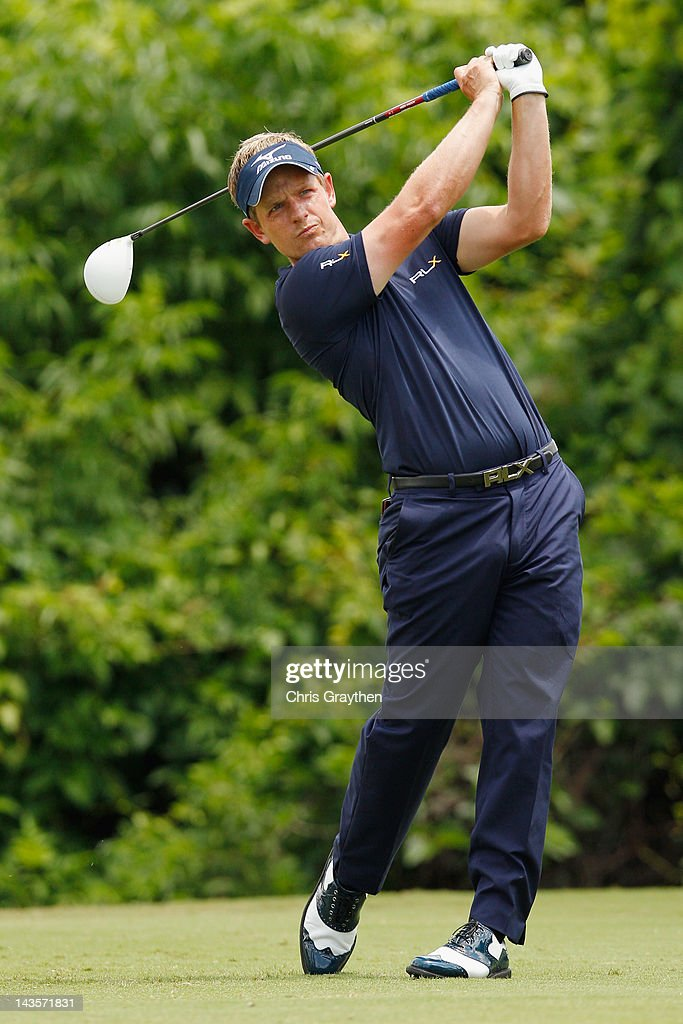 Luke Donald of England hits his tee shot on the second hole during the final round of the Zurich Classic of New Orleans at TPC Louisiana on April 29, 2012 in Avondale, Louisiana.