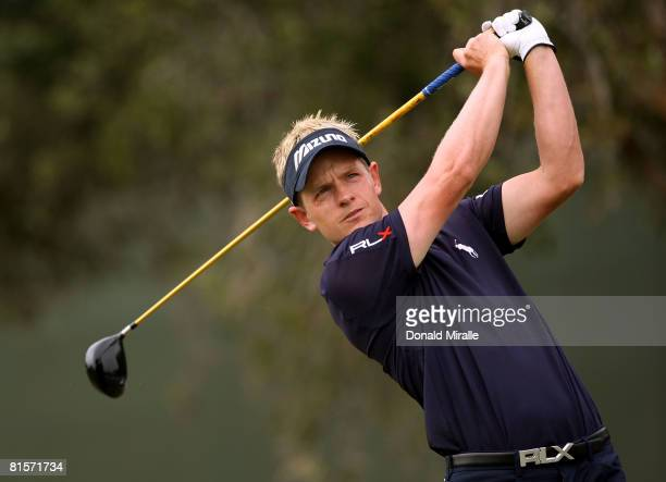 Luke Donald of England hits his tee shot on the seventh hole during the third round of the 108th US Open at the Torrey Pines Golf Course on June 14...