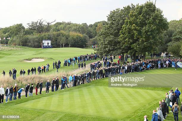 Luke Donald of England hits his tee shot on the tenth tee during the first round of the British Masters at The Grove on October 13 2016 in Watford...