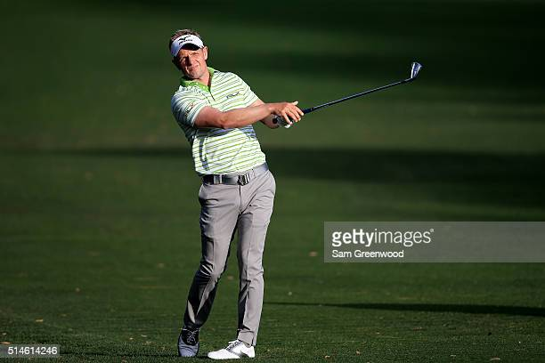 Luke Donald of England hits off the tenth fairway during the first round of the Valspar Championship at Innisbrook Resort Copperhead Course on March...