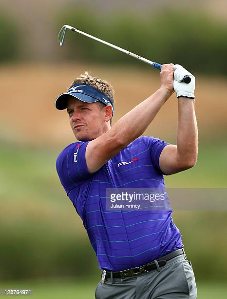 Luke Donald of England in action during round two of the Madrid Masters Golf at El Encin Golf Hotel on October 7 2011 in Madrid Spain