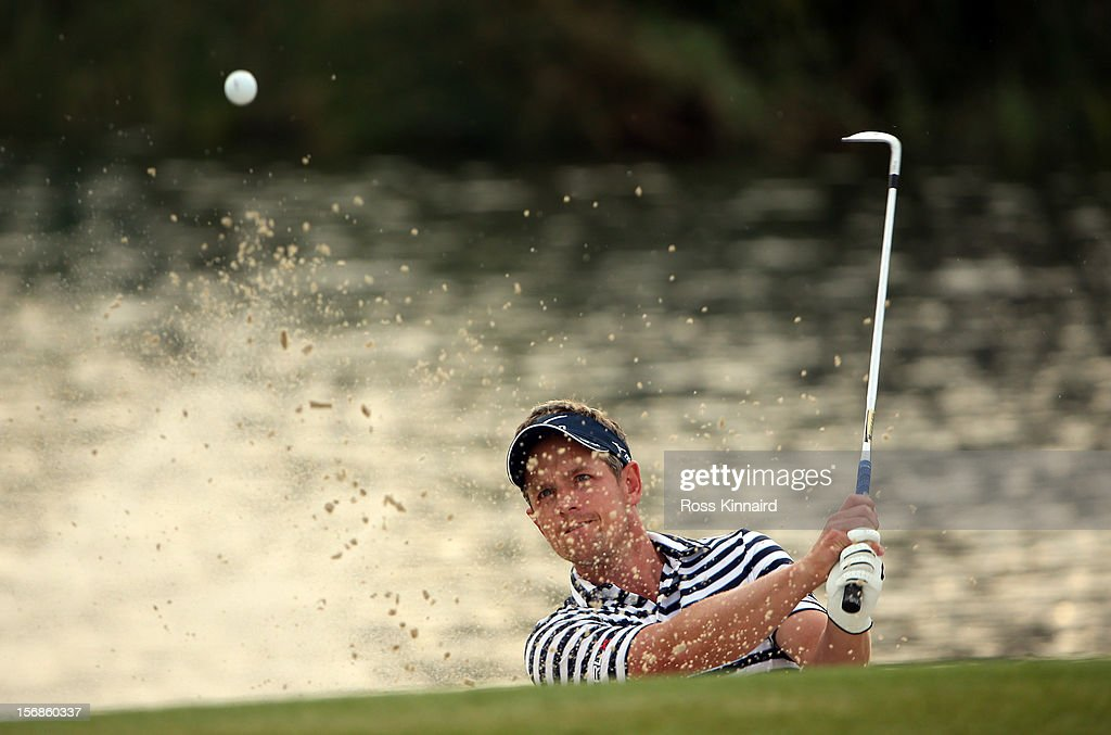 Luke Donald of England on the 17th hole during the second round the DP World Tour Championship on the Earth Course at Jumeirah Golf Estates on November 23, 2012 in Dubai, United Arab Emirates...