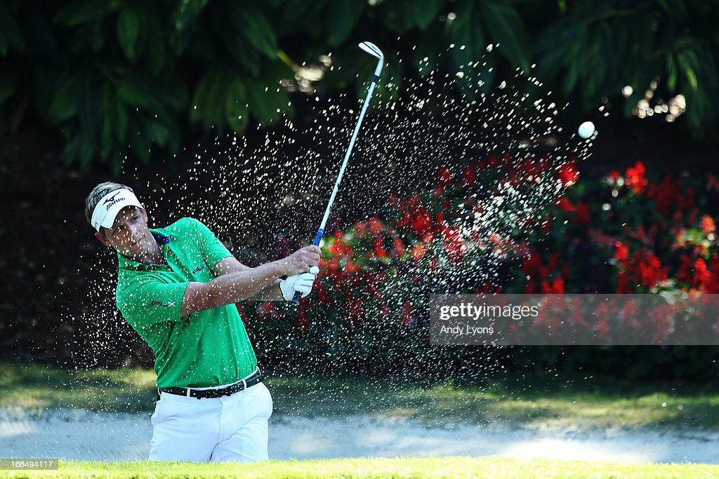 Luke Donald of England plays a shot from a bunker during round two of THE PLAYERS Championship at THE PLAYERS Stadium course at TPC Sawgrass on May 10, 2013 in Ponte Vedra Beach, Florida.