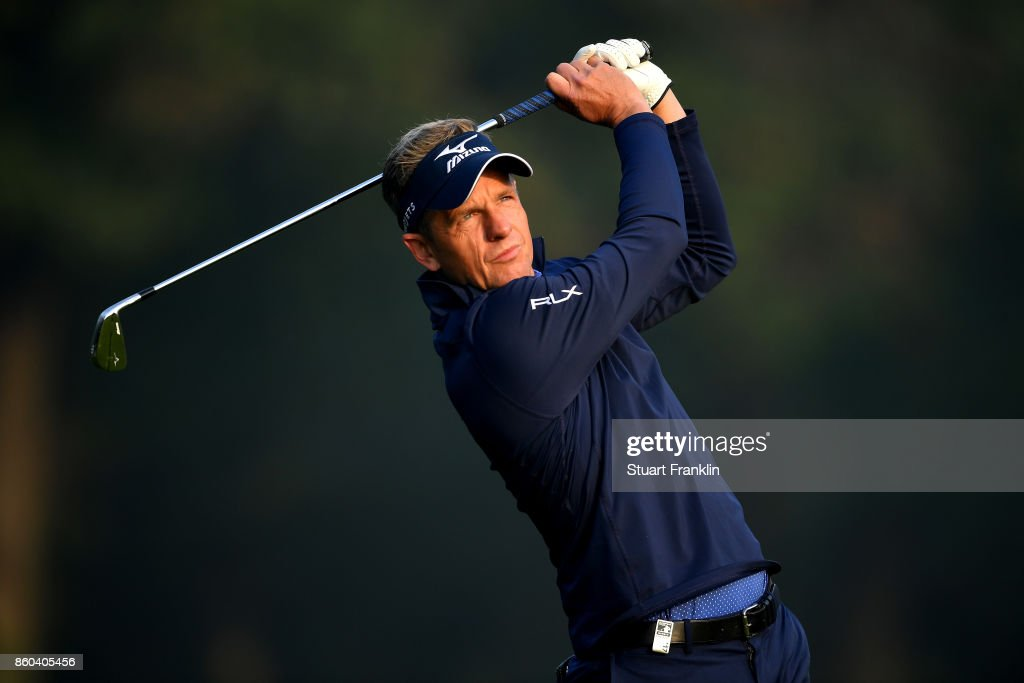Luke Donald of England plays a shot on Day One of the Italian Open at Golf Club Milano - Parco Reale di Monza on October 12, 2017 in Monza, Italy.