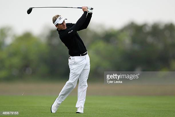 Luke Donald of England plays a shot on the 18th hole during the third round of the RBC Heritage at Harbour Town Golf Links on April 19 2014 in Hilton...