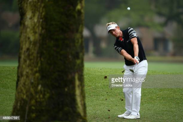 Luke Donald of England plays a shot on the 5th hole during the third round of the RBC Heritage at Harbour Town Golf Links on April 19 2014 in Hilton...