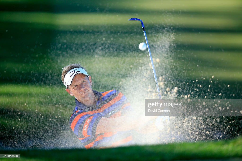 Luke Donald of England plays his fourth shot at the par 5, third hole during the first round of the 2016 Honda Classic held on the PGA National Course at the PGA National Resort and Spa on February 25, 2016 in Palm Beach Gardens, Florida.