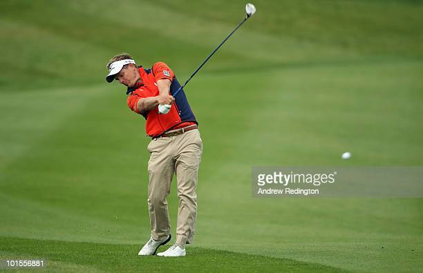 Luke Donald of England plays his second shot on the second hole during the Pro Am prior to the start of the Celtic Manor Wales Open on The Twenty Ten...