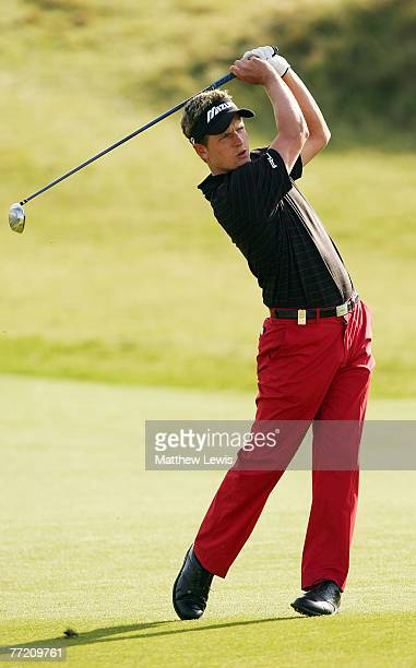 Luke Donald of England plays his second shot to the 17th hole during the third round of The Alfred Dunhill Links Championship at Kingsbarns Golf...