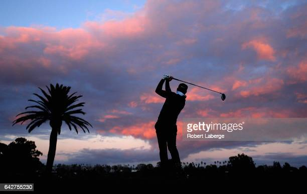 Luke Donald of England plays his shot from the first tee during the third round at the Genesis Open at Riviera Country Club on February 18 2017 in...