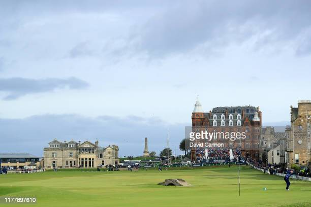 Luke Donald of England plays his tee shot on the 17th hole during the final round of the Alfred Dunhill Links Championship on the Old Course at St...