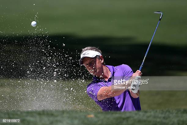 Luke Donald of England plays his third shot from the bunker on the second hole during the final round of the 2016 RBC Heritage at Harbour Town Golf...