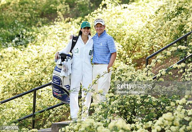 Luke Donald of England poses with his fiance Diane Antonopoulos during the Par3 contest prior to the start of The Masters at the Augusta National...