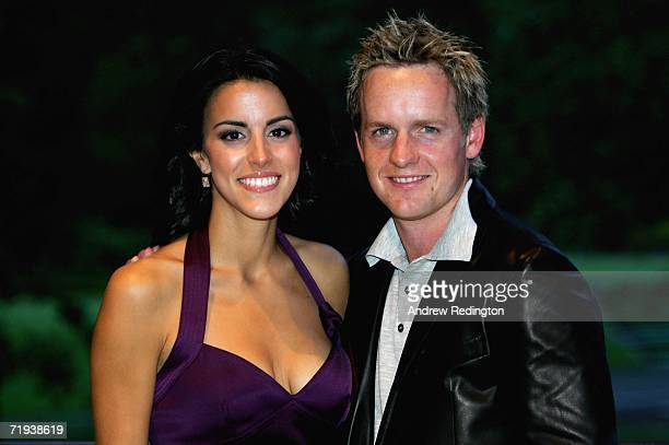 Luke Donald of England poses with his fiancee Diane Antonopoulos at The Welcome Dinner after the first official practice day of the 2006 Ryder Cup at...