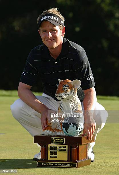 Luke Donald of England poses with the trophy after winning the Target World Challenge on December 11, 2005 at the Sherwood Country Club in Thousand...