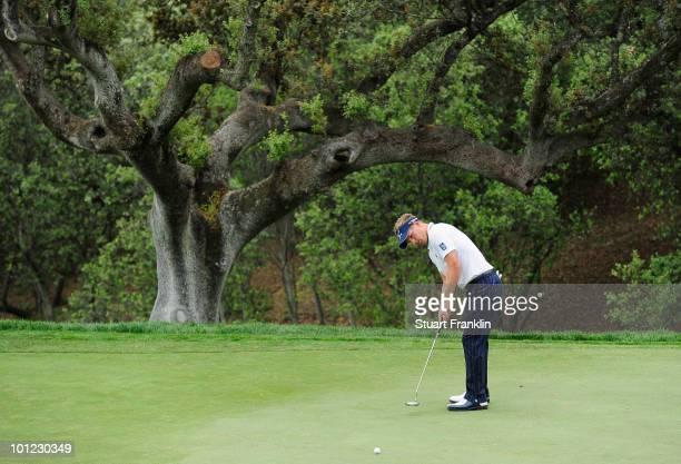 Luke Donald of England putting on the fifth hole during the second round of the Madrid Masters at Real Sociedad Hipica Espanola Club De Campo on May...