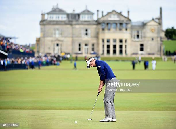 Luke Donald of England putts on the first green during the second round of the 144th Open Championship at The Old Course on July 17 2015 in St...