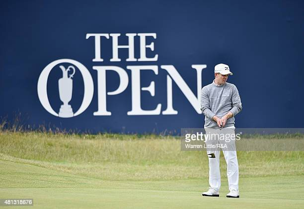 Luke Donald of England reacts to a putt on the first green during the third round of the 144th Open Championship at The Old Course on July 19 2015 in...