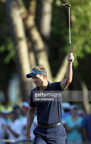 Luke Donald of England reacts to winning the Transitions Championship in a playoff at the Innisbrook Resort and Golf Club on March 18 2012 in Palm...