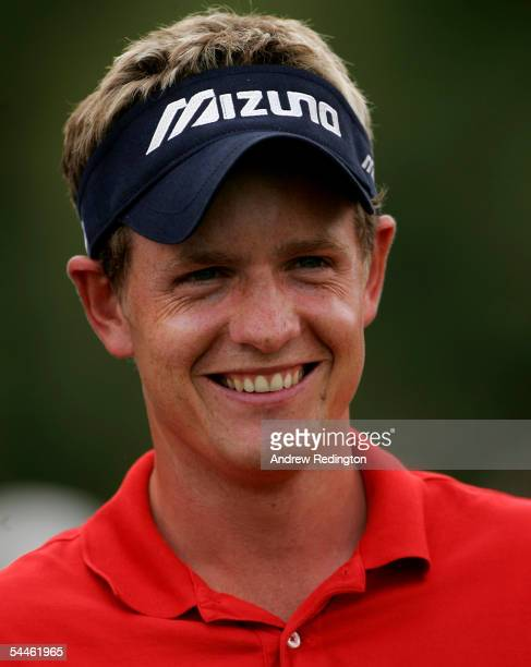 Luke Donald of England smiles during The Ryder Cup Challenge after the third round of The Omega European Masters on September 3 2005 at the...