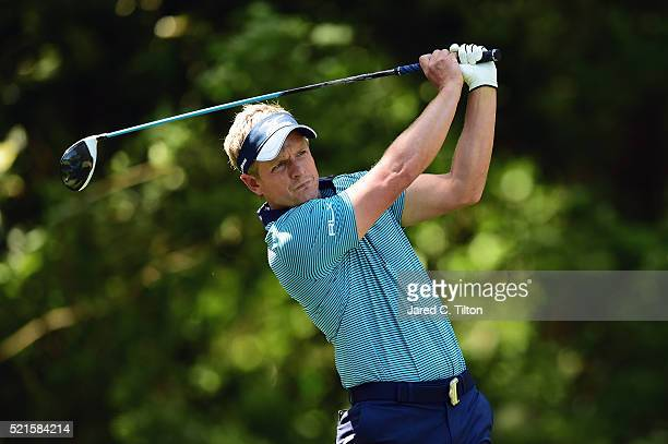 Luke Donald of England tees off on the fifth hole during the third round of the 2016 RBC Heritage at Harbour Town Golf Links on April 16, 2016 in...