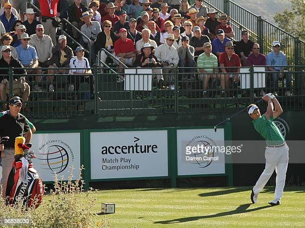 Luke Donald of England tees off on the first hole during round two of the Accenture Match Play Championship at the RitzCarlton Golf Club on February...
