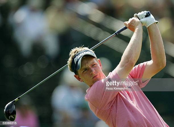 Luke Donald of England tees off on the par four 13th hole during practice prior to the start of the US Open at Pinehurst Resort June 14 2005 in...