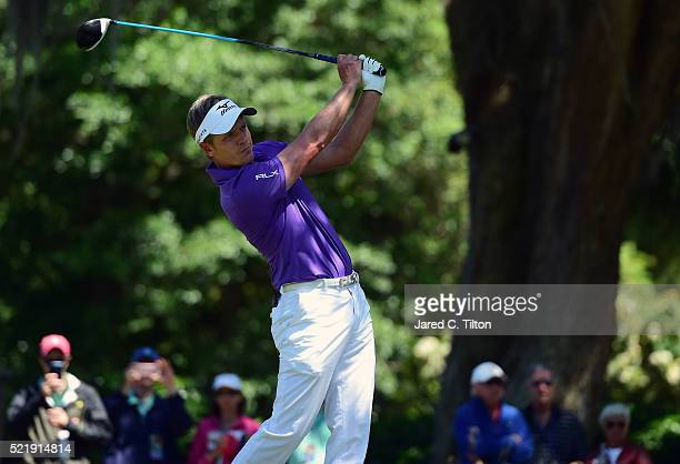 Luke Donald of England tees off on the third hole during the final round of the 2016 RBC Heritage at Harbour Town Golf Links on April 17 2016 in...