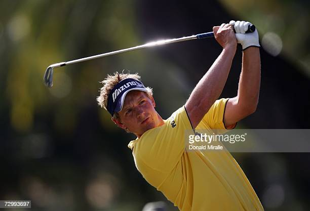 Luke Donald of England tees off the 4th hole during the 3rd Round of the Sony Open on January 13, 2007 at Waialae Country Club in Honolulu, Hawaii.