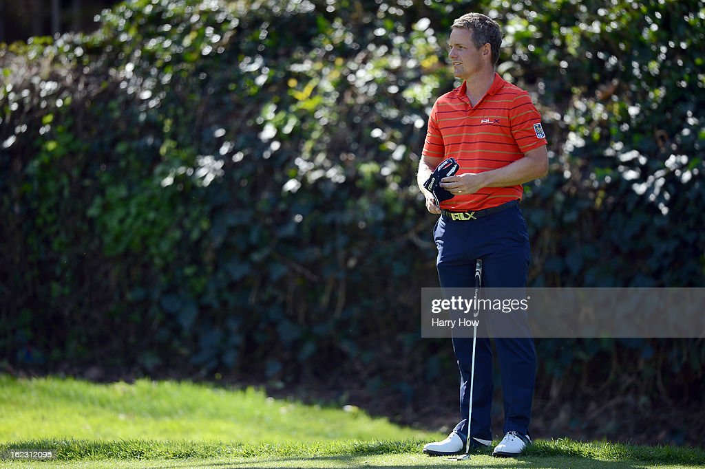 Luke Donald of England waits to putt on the sixth green during the second round of the Northern Trust Open at the Riviera Country Club on February 15, 2013 in Pacific Palisades, California.