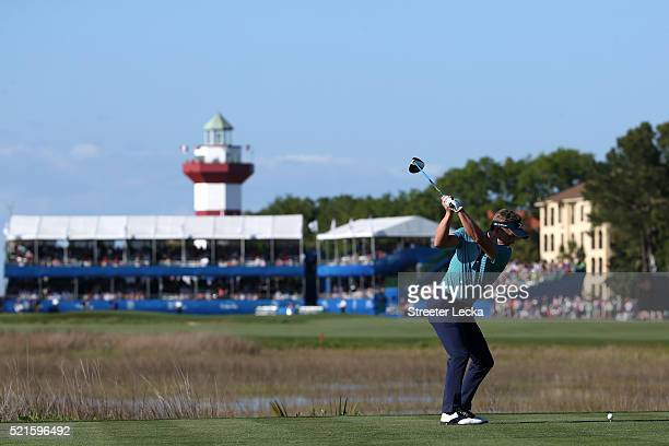 Luke Donald of Englang tees off on the 18th hole during the third round of the 2016 RBC Heritage at Harbour Town Golf Links on April 16, 2016 in...