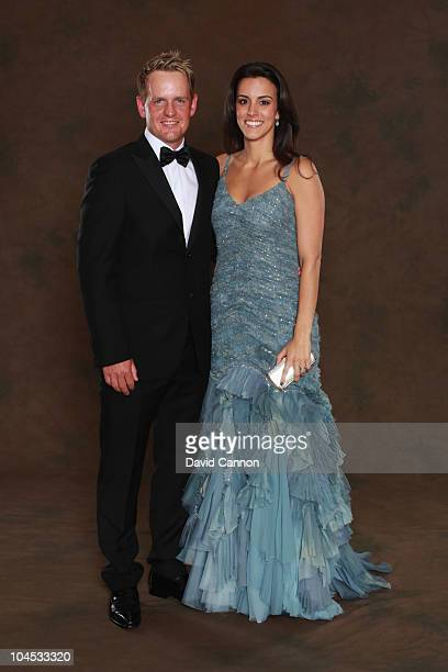 Luke Donald of the European Ryder Cup team poses with his wife Diane prior to the 2010 Ryder Cup Dinner at the Celtic Manor Resort on September 29,...