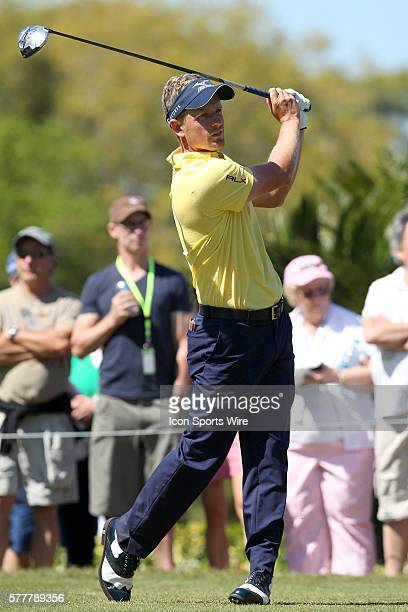 Luke Donald tees off the tenth tee during the second round of the Valspar Championship at Innisbrook Resort - Copperhead in Palm Harbor, Florida.