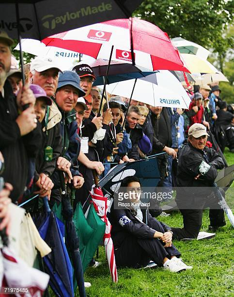Luke Donald's fiancee Diane Antonopoulos watches the action during the morning fourballs on the second day of the 2006 Ryder Cup at The K Club on...