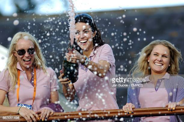 Luke Donald's girlfrield Diane Antonopoulos leads the celebrations amoungst the wifes of girlfriends