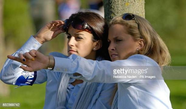Luke Donald's girlfriend Diane Antonopoulos and Sergio Garcia's girlfriend Morgan Leigh Norman during today's fourball round of the Ryder Cup at the...