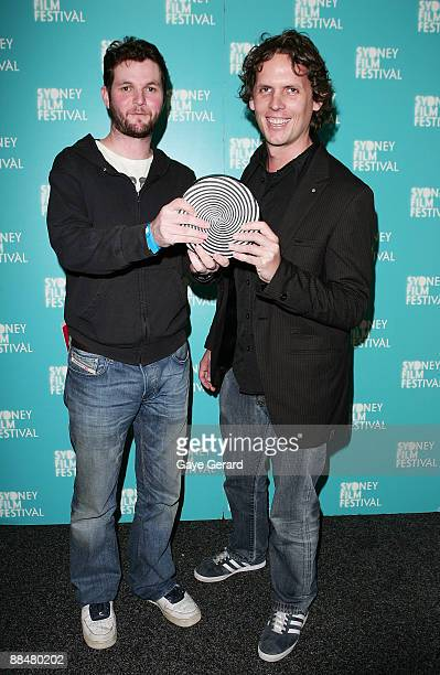 "Luke Doolan and Drew Bailey receive the 2009 Dendy Awards for Best Live Action Short for ""Miracle Fish"" at the Sydney Film Festival Awards at the..."