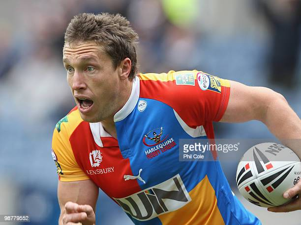 Luke Doyle of Harlequins breaks through and scores a try during the Engage Rugby Super League Magic Weekend match between Hull FC and Harlequins at...
