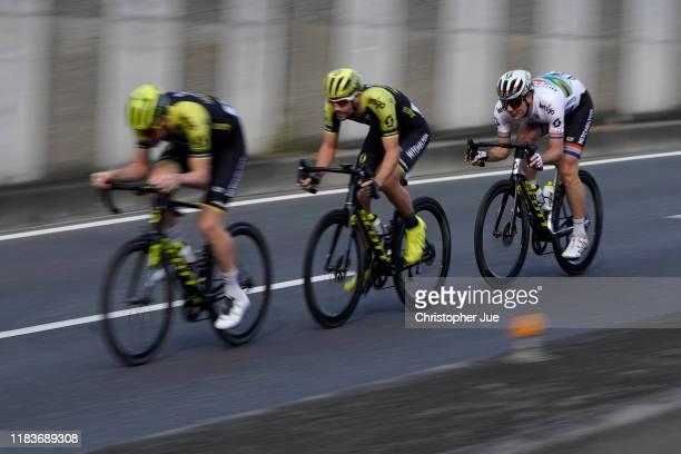 Luke Durbridge of Australia and Team Mitchelton-Scott / Luka Mezgec of Slovenia and Team Mitchelton - Scott / Daryl Impey of South Africa and Team...