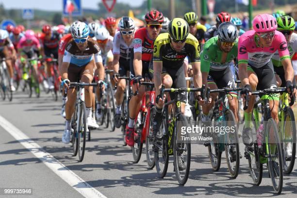 Luke Durbridge of Australia and Team MitcheltonScott / Peter Sagan of Slovakia and Team Bora Hansgrohe Green Sprint Jersey / Sep Vanmarcke of Belgium...