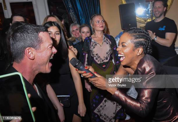 Luke Evans and Adrienne Warren perform at the Victoria Beckham x YouTube Fashion Beauty After Party at London Fashion Week hosted by Derek Blasberg...