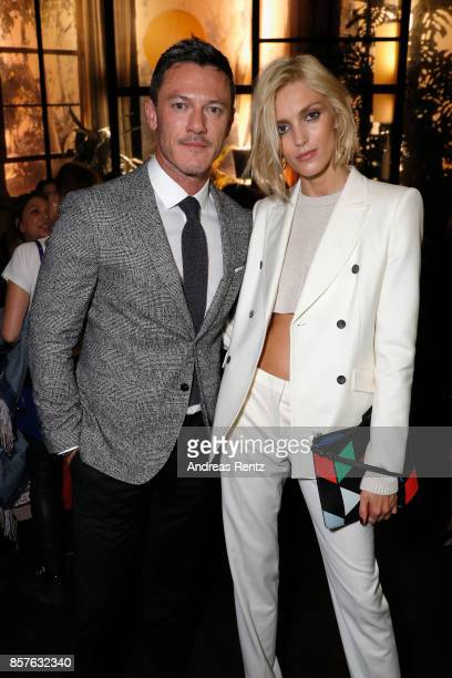 Luke Evans and Anja Rubik attend an EAMES Celebration by HUGO BOSS and Vitra Design Museum at Lapidarium on October 4 2017 in Berlin Germany