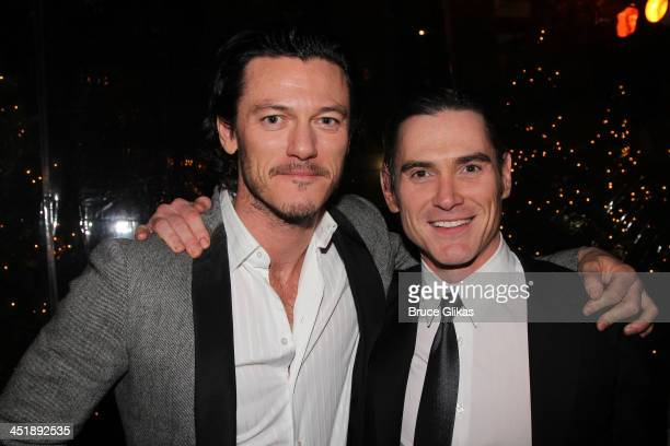 """Luke Evans and Billy Crudup pose at the """"No Man's Land"""" & """"Waiting For Godot"""" Opening Night after party at the Bryant Park Grill on November 24, 2013..."""