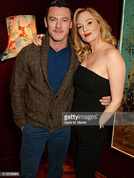 Luke Evans and cast member Katherine Kingsley attend the press night after party for The Donmar's production of 'Welcome Home Captain Fox' at The...