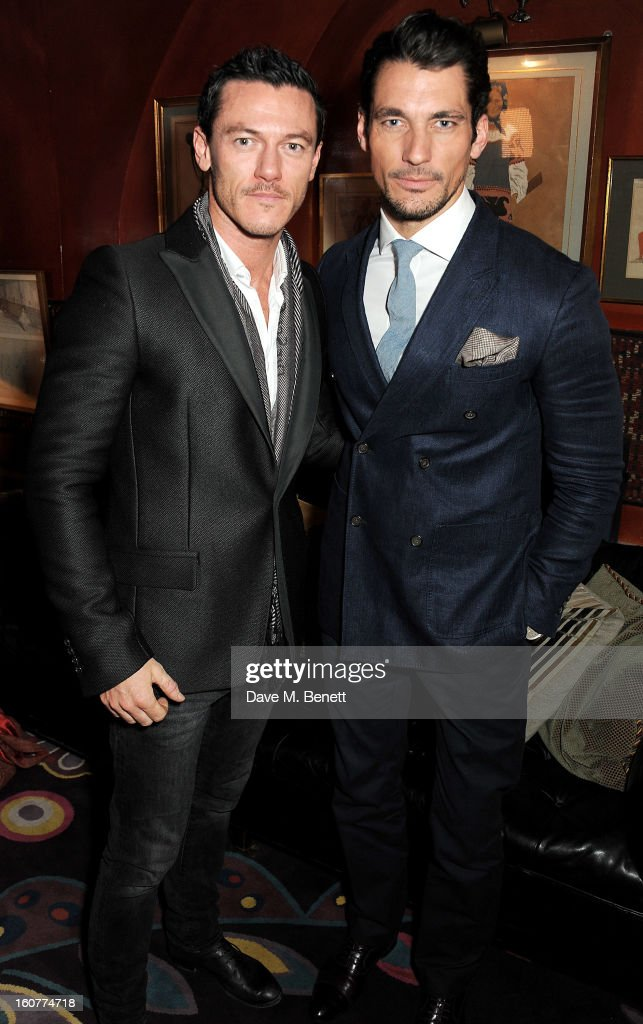 Luke Evans (L) and David Gandy attend a party celebrating the new partnership between Johnnie Walker Blue Label and model David Gandy at Annabels on February 5, 2013 in London, England.