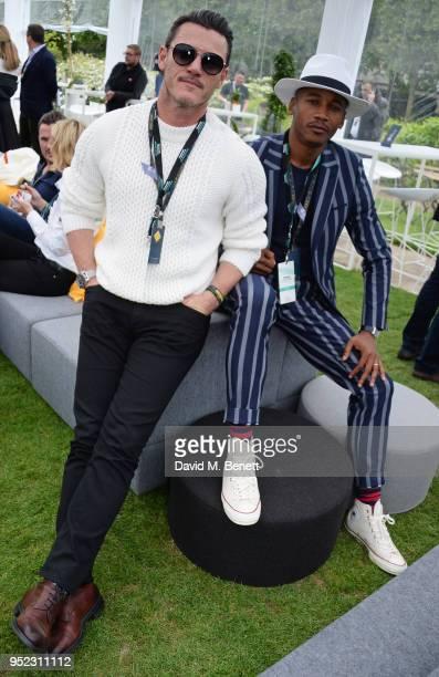 Luke Evans and Eric Underwood attend the ABB FIA Formula E Qatar Airways Paris EPrix 2018 on April 28 2018 in Paris France