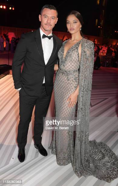 Luke Evans and Shanina Shaik attend the Fashion Trust Arabia Prize awards ceremony on March 28, 2019 in Doha, Qatar.