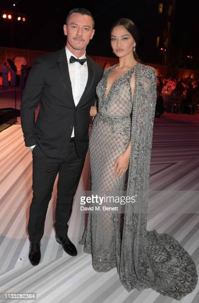 Luke Evans and Shanina Shaik attend the Fashion Trust Arabia Prize awards ceremony on March 28 2019 in Doha Qatar