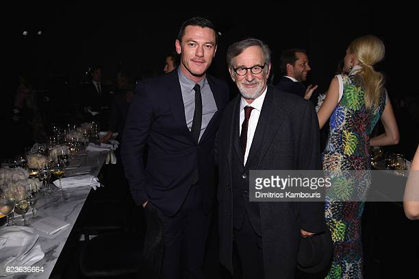 Luke Evans and Steven Spielberg attend the MoMA Film Benefit presented by CHANEL A Tribute To Tom Hanks at MOMA on November 15 2016 in New York City