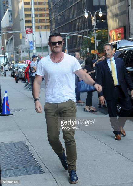 Luke Evans arrives at 'The Late Show with Stephen Colbert' on October 10 2017 in New York City